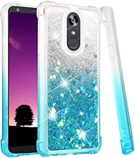 Ruky LG Stylo 4 Case, LG Stylo 4 Plus Case, LG Q Stylus Case, Gradient Quicksand Series Glitter Flowing Liquid Floating Soft TPU Bumper Cushion Protective Women Girls Cute Case (Gradient Teal)