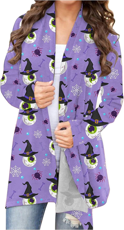 Clearance!! Coat Jacket Women's Halloween Animal Cat Pumpkin Print Cardigan Autumn Coat Blouse