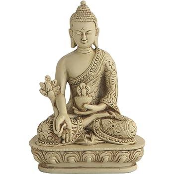 Buddha Groove Medicine Buddha Statue, Stone Finish, 5 Inches