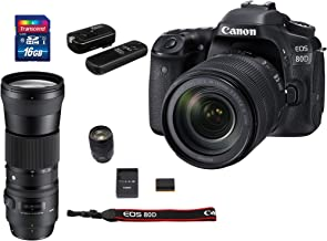 Canon EOS 80D DSLR Camera with 18-135mm USM + Sigma 150-600mm F5-6.3 DG Contemporary + Wireless Remote Shutter Release + Transcend 16GB SDHC Memory Card Bundle