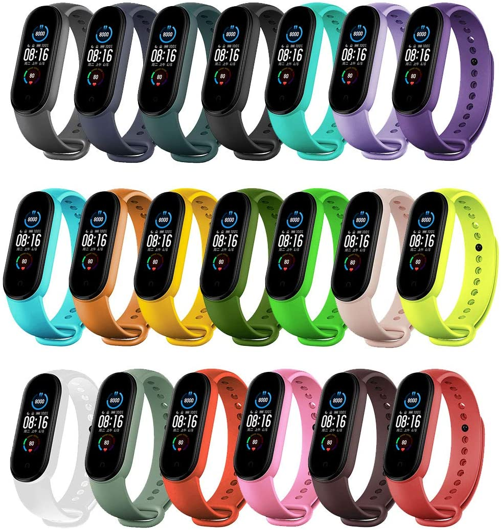 Replacement Bands Compatible with Xiaomi Mi Band 6 Band/Xiaomi Mi band 5 Band/Amazfit Band 5 Band,Yuuol Soft Silicone Wristbands, Sport Adjustable Wrist Strap for Women Men