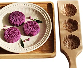 JKLcom MoonCake Mold Chinese Traditional Mid-autumn Festival Moon Cake Mold 3 Flower Shape Wooden Handmade  Baking Mold for Muffin Mooncake Cookie Biscuit Chocolate Pumpkin Pie