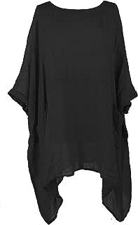 TEXTURE Ladies Women Italian Lagenlook 2 Pocket Asymmetric Linen Kaftan Tunic Top Blouse One Size Plus
