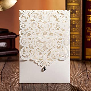 WISHMADE 50X Laser Cut Wedding Invitations Cards with Envelopes Pocket Invites Set Custom Classic Rhinestone for Engagement Anniversary Bridal Shower Birthday Quinceanera Sweet 16 (50 Pieces)