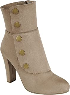 FOREVER FN77 Women's Side Zipper Wrapped Chunky Heel Ankle High Top Booties