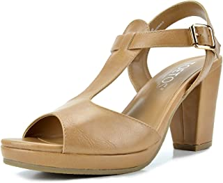 Women's T-Strap Open Toes Mid Chunky Heels Platform Dress Sandals