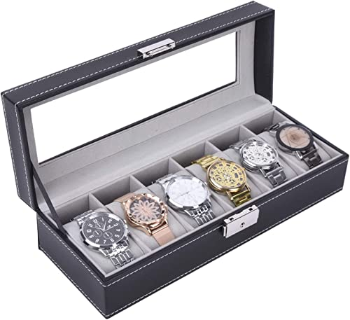 Autoark Leather 6 Watch Box Glass Top Watch Jewelry Display Case Organizer,Black,AW-046