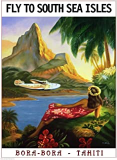 FLY TO SOUTH SEA ISLES ISLANDS BORA BORA TAHITI VINTAGE TRAVEL Art Collectible Wall Decor POSTER Print. Measures 10 x 13.5 inches