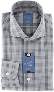 Barba Napoli Plaid Button Down Spread Collar Cotton Extra Slim Fit Dress Shirt