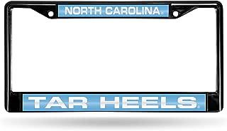 NCAA North Carolina Tar Heels Laser Cut Inlaid Black Standard Chrome License Plate Frame