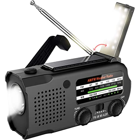 Lukasa 5000mAh Emergency Hand Crank Portable AM/FM/NOAA Weather Radio, Rechargeable Solar Radio with LED Flashlight, Phone Charger, Reading Lamp,SOS Alarm(Black)