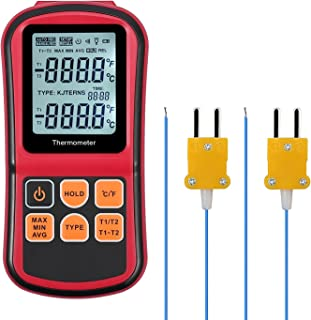 Kamtop Digital Thermometer Dual Channel Thermometer with Two K- type Thermocouples Temperature Meter with LCD Backlight for K/ J/ T/ E/ R/ S/ N Thermocouple