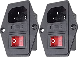 CESS AC Power Socket With Switch & Fuse & Lamp,Chassis/Panel Mount - AC Socket & Fuse & Swtich (2 PACK)