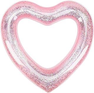 MoKo Anillos de Natación con Purpurina de 120CM de Diámetro para Niños Adultos, Piscina de Flotador Inflable en Forma de Corazón para Fiesta de Verano Diversión Acuática Playa - Oro Rosa
