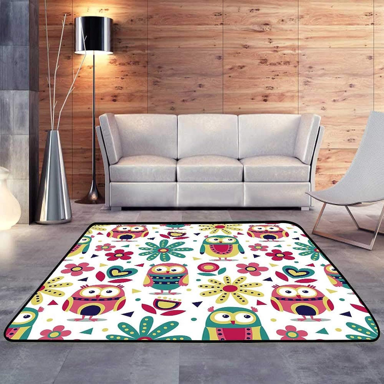 Carpet mat,New Cute Animal Made with Owls Flowers natureW 55  x L63 Floor Mat Entrance Doormat
