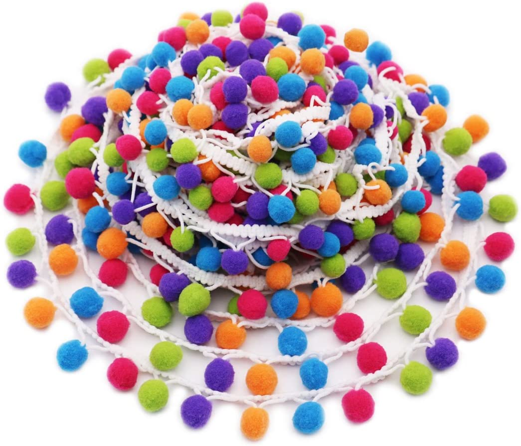 All items free shipping SOOKOO 5 Yards Max 85% OFF Handmade Rainbow Trim Fringe Ball Pom Ribbon