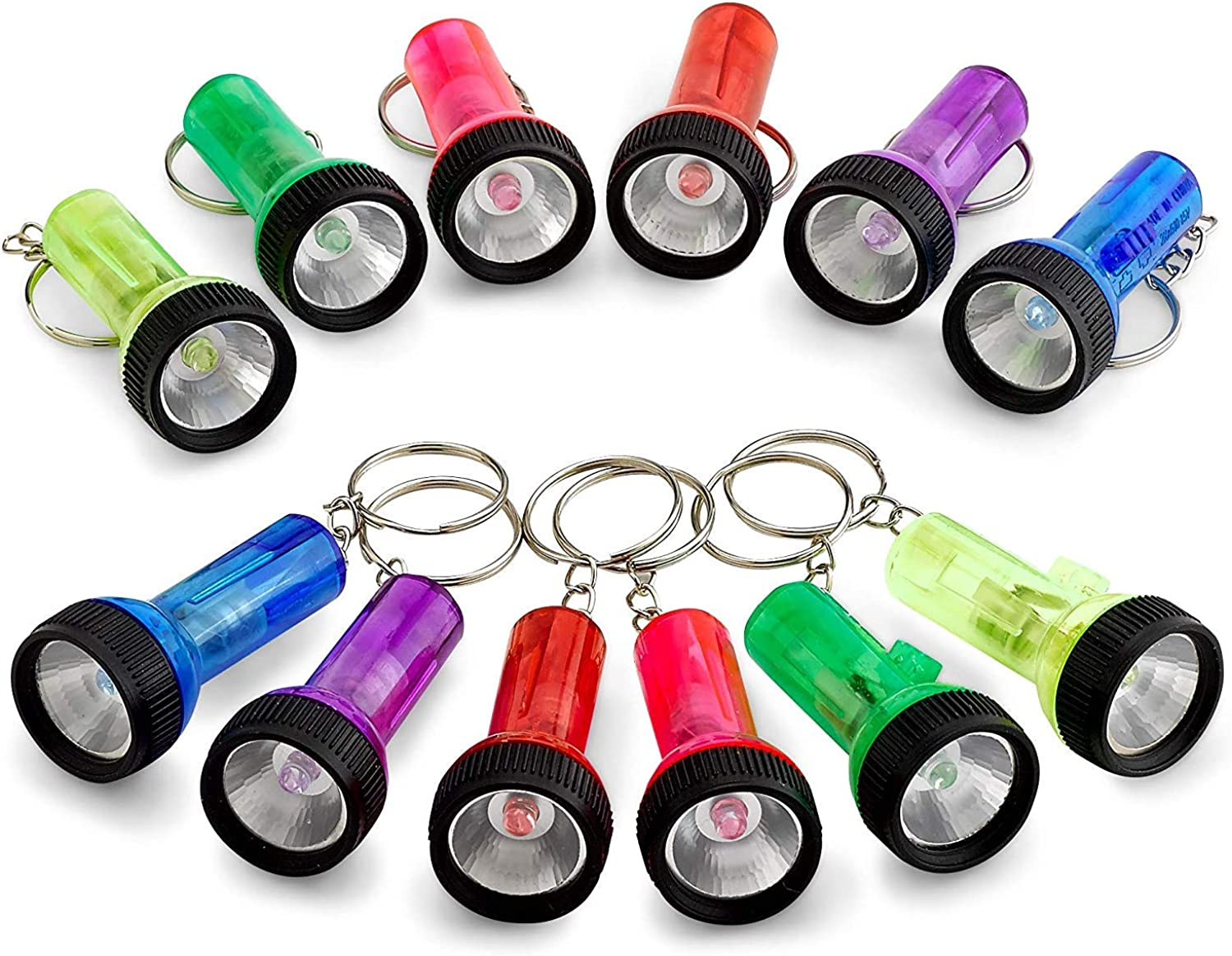 Torch Pocket Plastic Mini color Assorted Pieces 12 Keychains