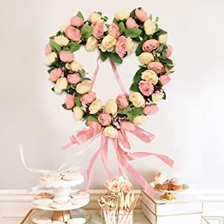Asvert Handmade Wreath, Floral Artificial Simulation Flowers Garland, European Door Ornament, with 1pcs Wreath Hook, for Home Party Decor (35cm-13.77inch, Pink)