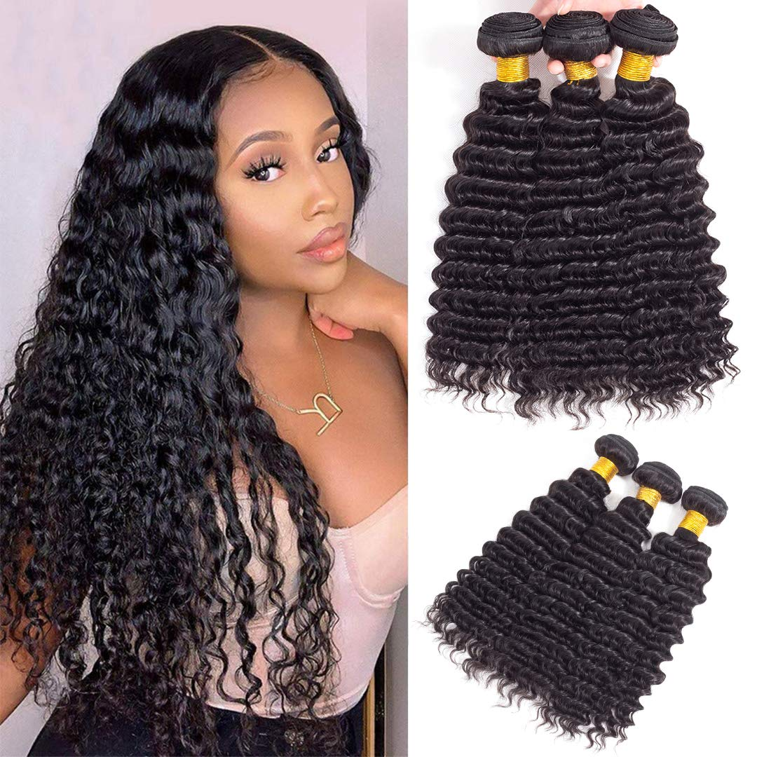 Brazilian Virgin Deep Max 83% OFF Wave Hair 3 Be super welcome 9A Vi Unprocessed Bundles 100%