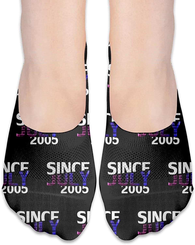 Since July 2005 16th Birthday Gift No Show Socks Adult Short Socks Athletic Casual Crew Socks
