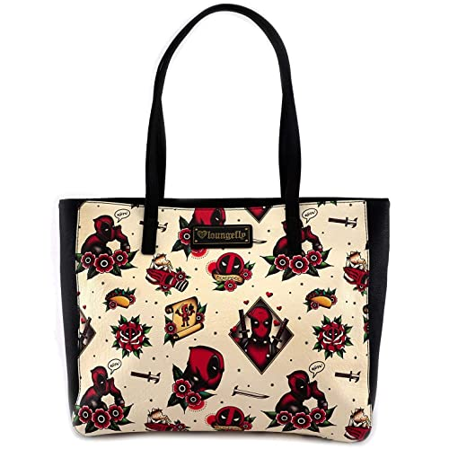 Loungefly x Marvel Deadpool Tattoo Flash Print Tote Bag