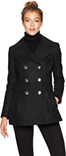 womens Polished Wool Coat With Button Detail