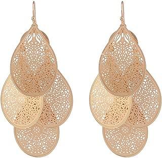 Grace Jun Bridal Vingtage 4 Teardrop Shape Pierced Dangle Earrings Large Statement Earrings