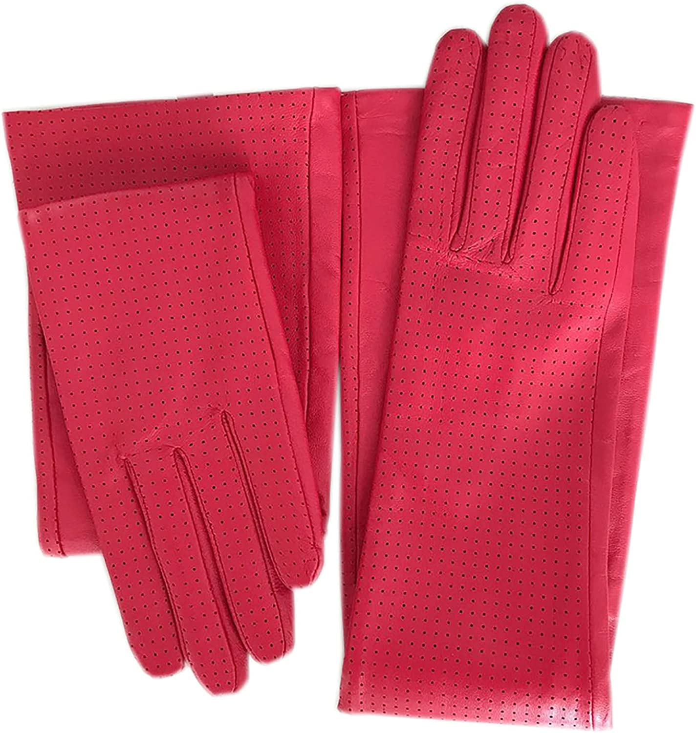 Winter ladies fashion elbow sheepskin long gloves new red punched leather