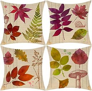 Wilproo Fall Maple Leaf Autumn Decor Pillowcase, Cotton Linen Leaves Decorations Cushion..