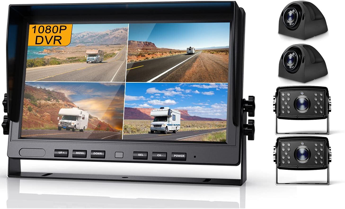 Fursom 10.2'' 1080P DVR Wired Backup Camera System Kit, HD Quad Split Monitor, Waterproof Side Rear View Car Reversing Camera x 4 for Large Vehicles, Trailer, Van, Camper, Box Truck, RV, Bus