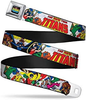 Buckle-Down Seatbelt Belt - THE NEW TEEN TITANS Issue #1 Superhero Cover Poses White - 1.0