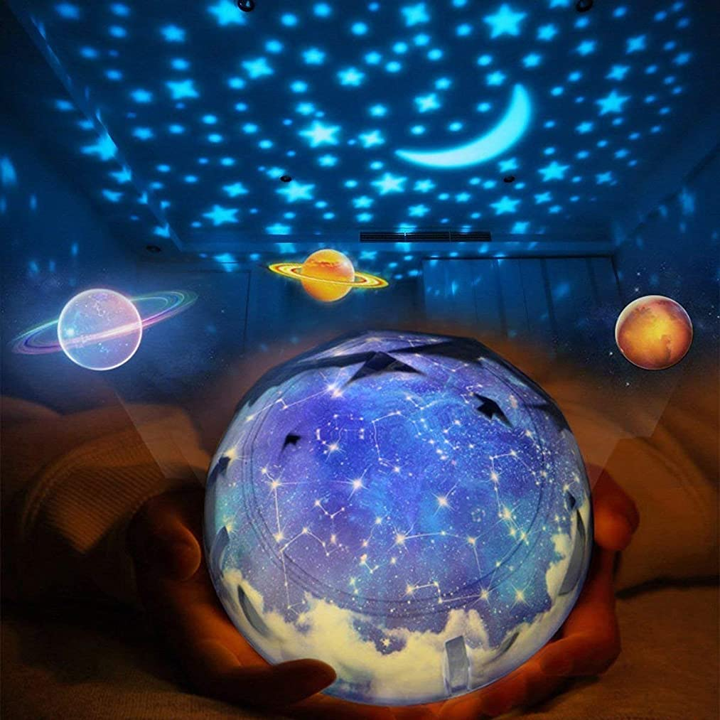 Star Projector Night Light for Kids, Universe Night Light Projection Lamp, Romantic Star Sea Birthday Christmas Projector Lamp for Bedroom - 3 Sets of Film