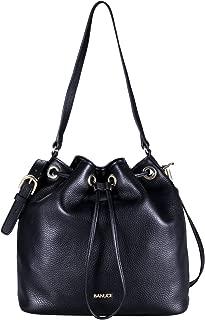 Womens Top Grain Leather Shoulder Bag Messenger Drawstring Bucket Crossbody Handbags Satchels Purse