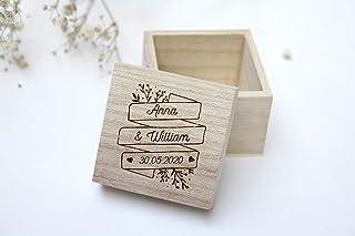Scatola porta fedi matrimonio, scatola personalizzata con nomi e data del matrimonio, stile floreale, scatola quadrata di ...