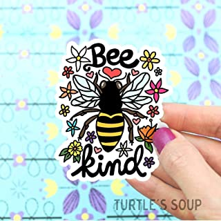 Bee Kind Sticker, Be Kind, Vinyl Stickers, Save The Bees, Flowers, Honey Bee, Car Decal, Laptop Stickers, for Water Bottle, Bee Art, Illustrated, Turtle's Soup