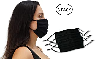 3 Pack Unisex Reusable Pleated Fabric Face Mask with Adjustable Elastic, 2 Layer, Washable, Nose Wire (Size OS, 3 Pack)