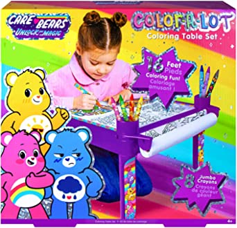 for Age 6 and Up Kids Table Has Built-in Roller with 16-feet Paper Coloring Roll Fashion Angels Care Bears Desk for Coloring Activity Includes Containers for Storage and 8 Jumbo Crayons