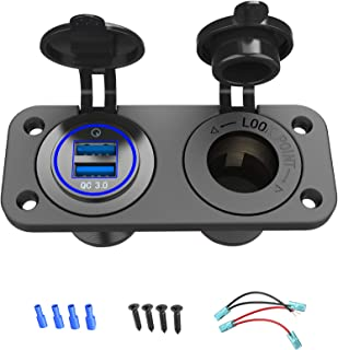 Quick Charge 3.0 Cigarette Lighter Outlet Splitter, 12V USB Charger Waterproof Power Socket Adapter DIY Kit with Blue LED ...