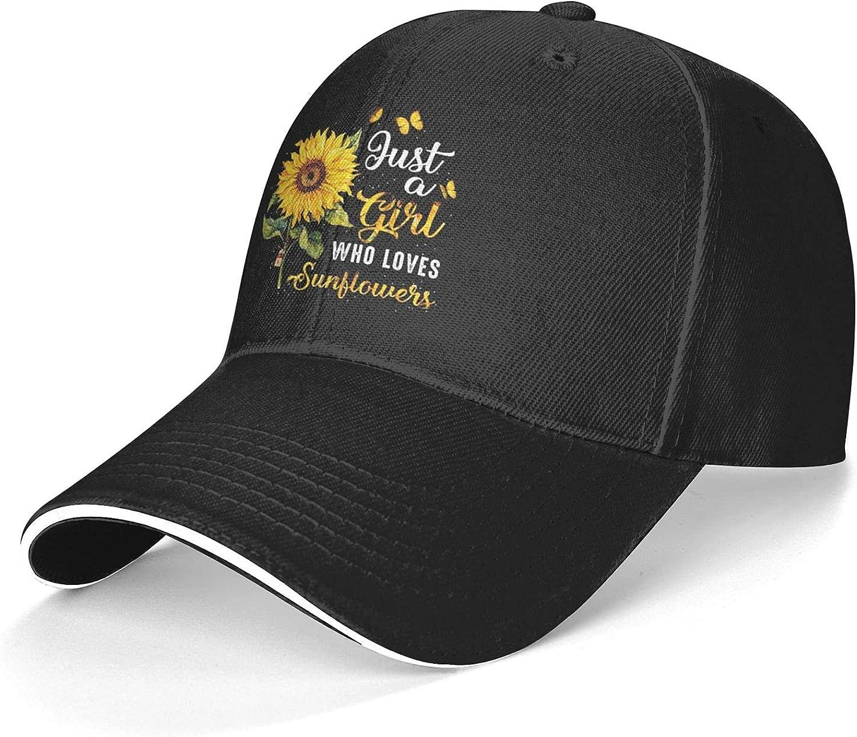 Just A Girl Who Loves Sunflowers Cap U.S Adult Sports Unisex Summer Sunshade Beach Casual Hats Autumn Outdoor Elasticity Adjustable Black