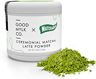 Ceremonial Matcha Latte Powder by Goodmylk Co. x MatchaBar | Ceremonial Grade Japanese Green Tea with Dairy-Free Almond Creamer | Just Add Hot Water and Whisk or Blend | Organic, Sprouted, Plant Based