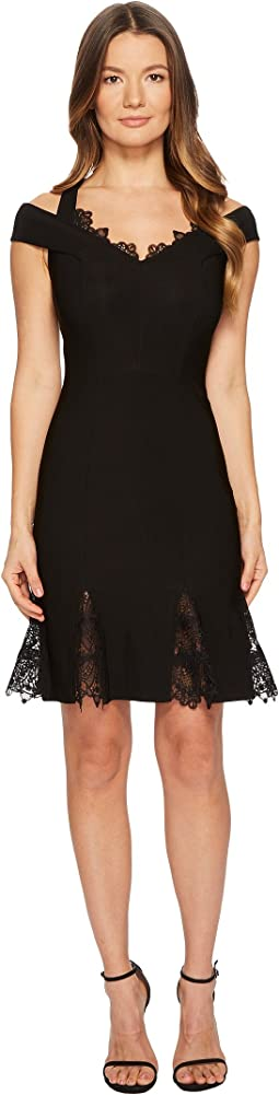 Cold Shoulder Lace Gusset Flare Dress