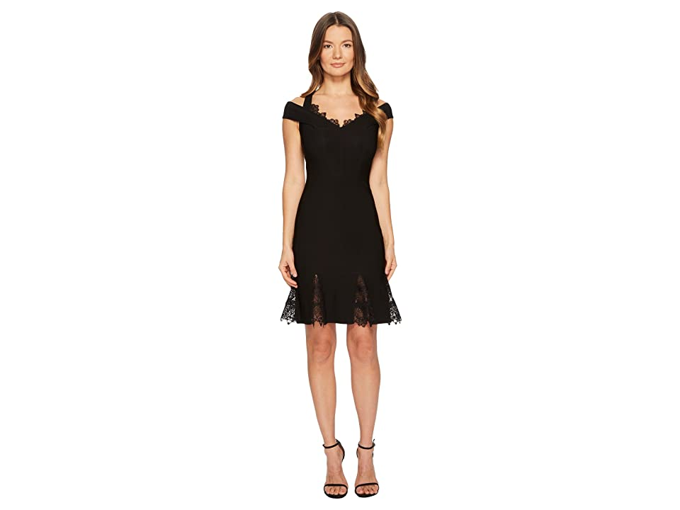 YIGAL AZROUEL Cold Shoulder Lace Gusset Flare Dress (Jet) Women