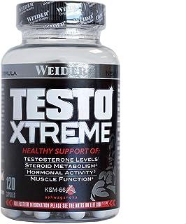 Weider Testo Xtreme. Incrementa los niveles de energía, fuerza y  resistencia. Contiene Ashwagandha, Extracto de Fenogreco y Maca (120 Caps)