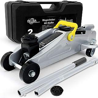 Deuba Gato hidráulico para coche capacidad de carga 2 Toneladas en maletín perfil bajo con taco de goma herramientas auto