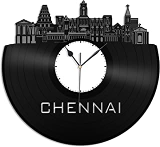 VinylShopUS - Chennai Vinyl Wall Clock City Skyline Record Decorative Design Gift Home Office Decor | Unique Gift for Men Women | Home Office Decor