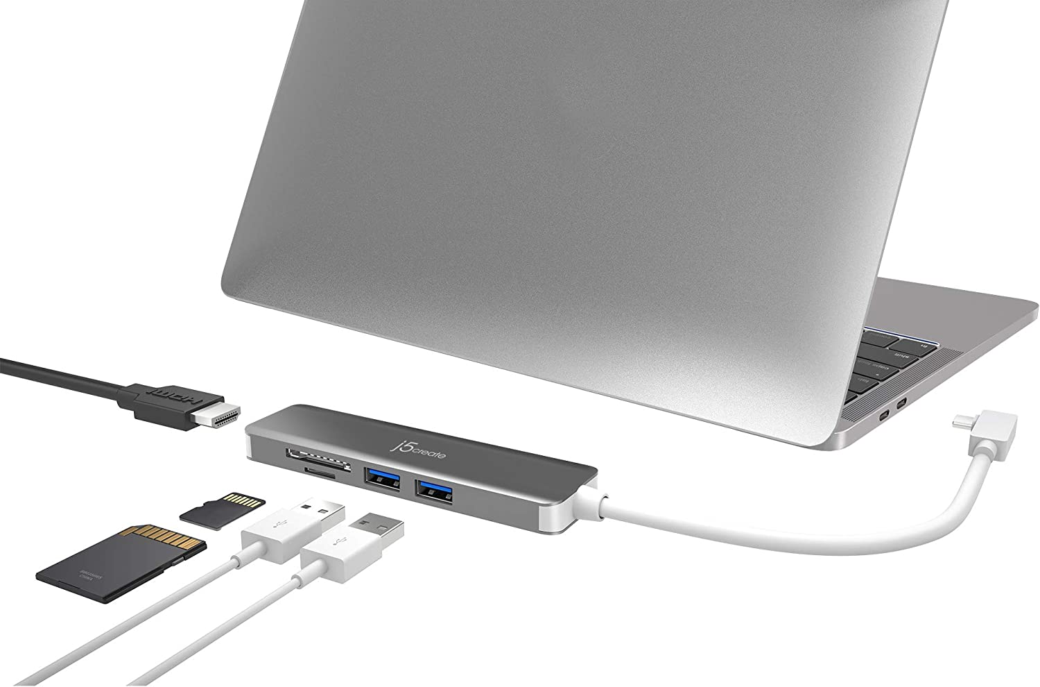 j5create 5 in 1 Compact USB-C Hub, Type C Adapter with 4K HDMI, 2 USB 3.0 Ports, SD and microSD Card Reader, for MacBook Pro, MacBook Air, XPS, Chromebook, and Other USB C Windows Laptops