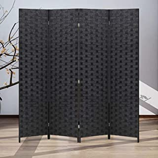 XXFBag 6FT Wood Room Divider and Folding Privacy Screens 4 Panel Room Partition Screen with Stand freestanding Wall Dividers for Rooms Bathroom Home Office Tall Heavy Duty Mesh Woven Design Black