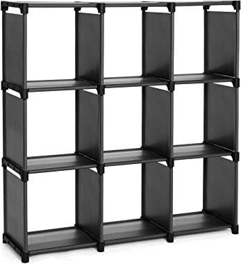 SONGMICS 9 Cube DIY Storage Shelves Open Bookshelf Closet Organizer Rack Cabinet Black
