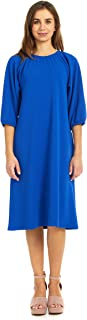 Women's Dress - Elastic Neck and Cuff - Pockets - 3/4 Sleeve - Olivia