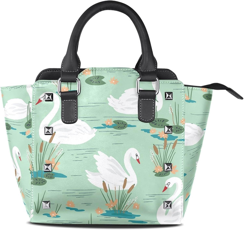 My Little Nest Women's Top Handle Satchel Handbag Swans Ladies PU Leather Shoulder Bag Crossbody Bag